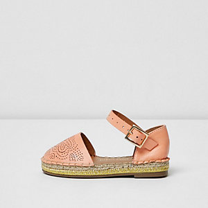 Mini girls pink laser cut espadrilles