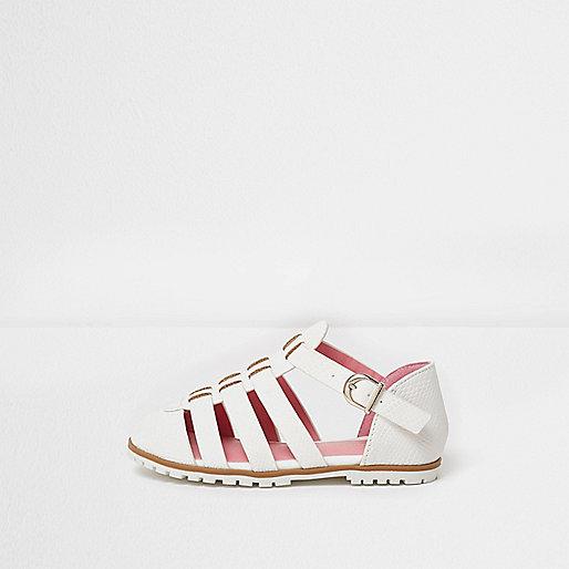 Mini girls white textured sandals