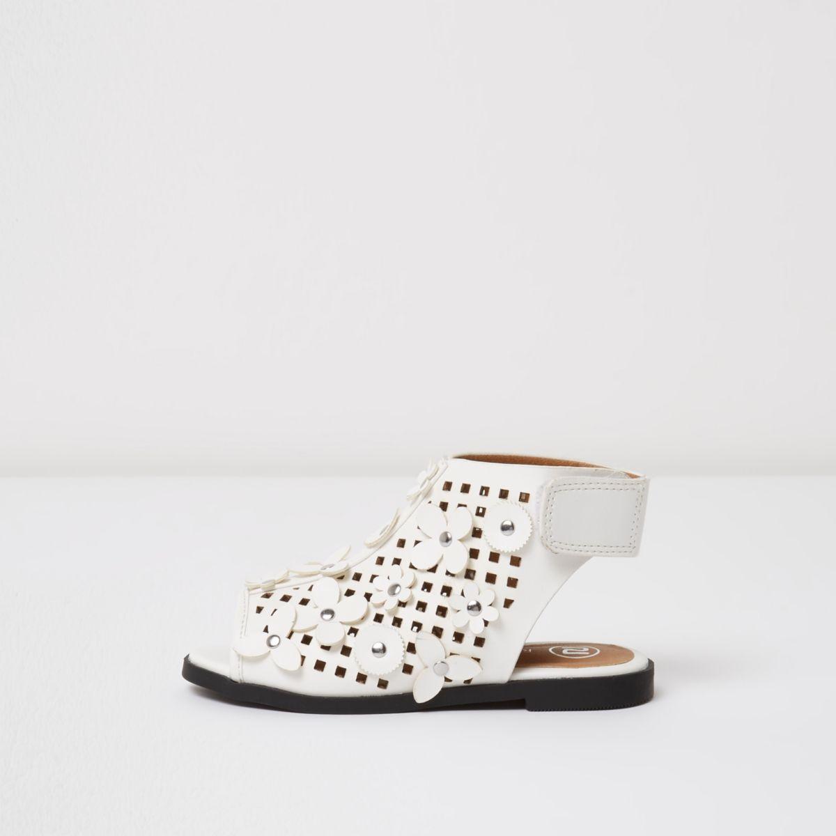 Mini girls white cut out flower sandals
