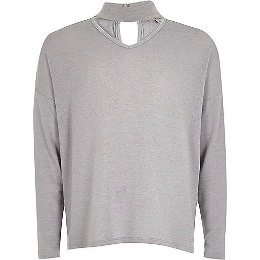 Girls grey knit choker jumper