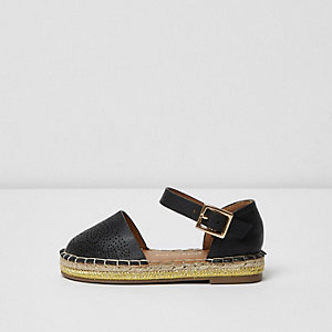 Mini girls black laser cut espadrilles
