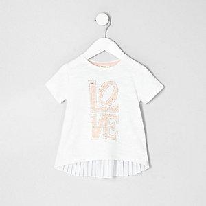 Mini girls white printed pleated back T-shirt