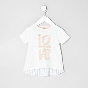 Mini girls white printed pleated back T-shirt