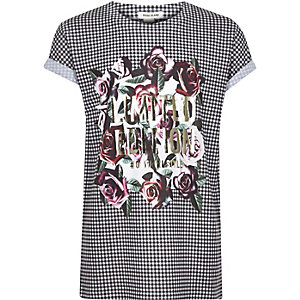 Wit T-shirt met ruitjes en metallic print voor meisjes