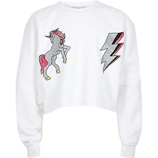 Girls white unicorn print sweatshirt