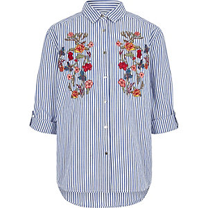 Girls blue stripe floral embroidered shirt