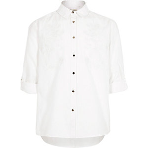 Girls white embroidered shirt