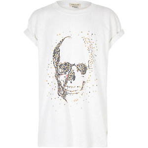 Girls white star skull print T-shirt