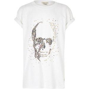 T-shirt imprimé tête de mort et étoiles blanc pour fille