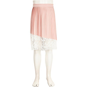 Girls pink and white lace panel pleated skirt