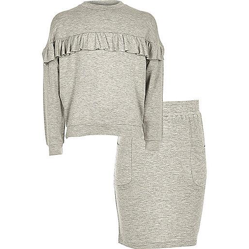 Girls grey ruffle sweater and skirt set