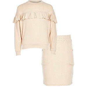 Girls pink ruffle top and skirt set