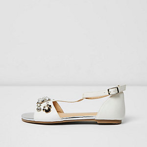 Girls white embellished T-bar sandals
