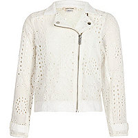 Girls white lace biker jacket