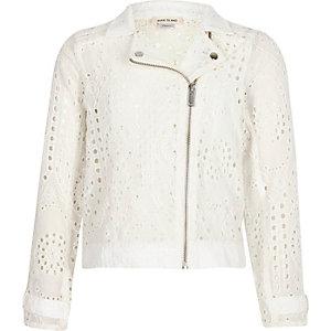Girls white lace biker jacket