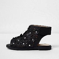 Sandales noires à découpes ornées de fleurs mini fille