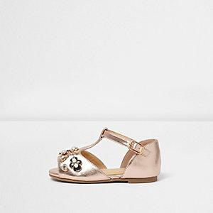 Mini - Roze metallic sandalen met T-bandje en verfraaiing voor meisjes