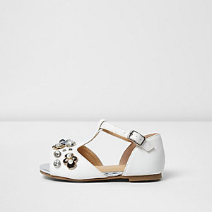 Mini Girls white T-bar embellished sandals