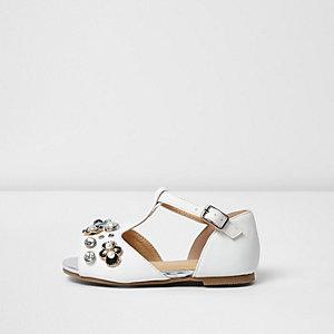 Mini Girls white T-bar embellished sandals