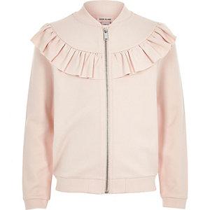 Girls pink ruffle sweat bomber jacket