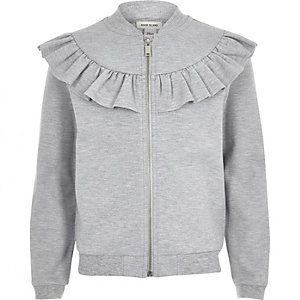 Girls grey ruffle sweat bomber jacket