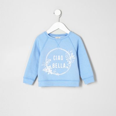 Mini blauw sweatshirt met ciao bella'-print voor meisjes