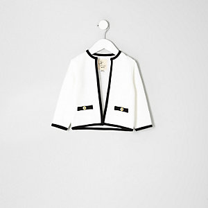 Mini girls cream contrast trim trophy jacket