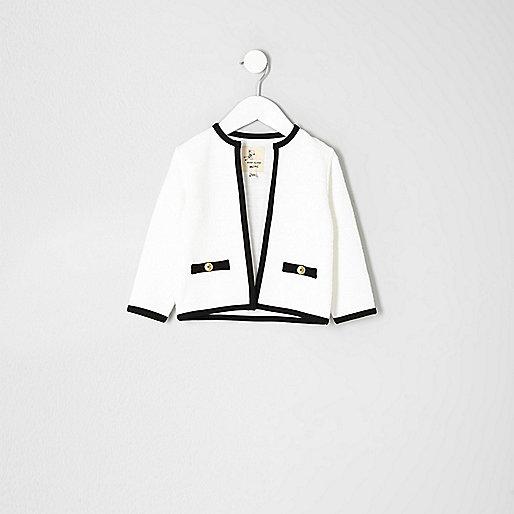 Mini girls cream contrast trim trophy jacket