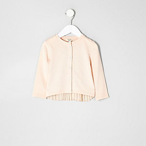 Mini girls pink knit pleated back cardigan