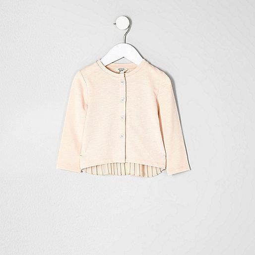 Mini girls pink knit pleated back cardigan