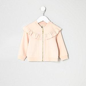 Mini girls pink ruffle jacket