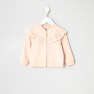 Mini girls pink ruffle jacket
