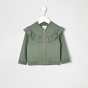 Mini girls khaki ruffle jacket