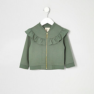 Mini girls khaki ruffle jacket