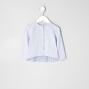 Mini girls blue knit pleated back cardigan