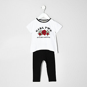 Mini girls white T-shirt and Leggings set