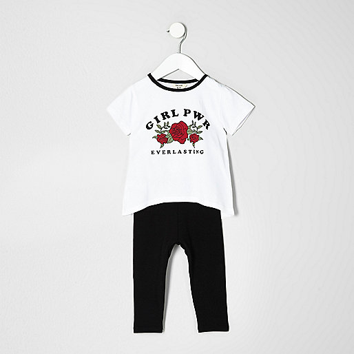 Mini girls white T-shirt and Leggings set