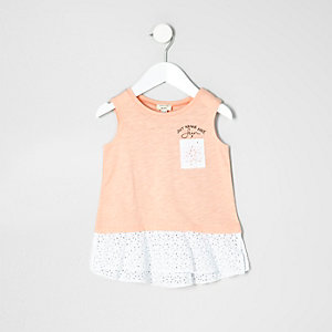 Mini girls coral crochet peplum tank top