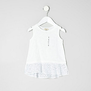 Mini girls white crochet peplum hem top