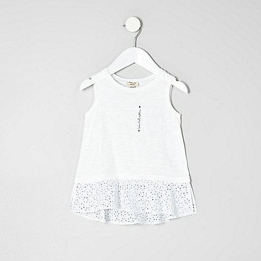 Mini girls white crochet peplum hem top