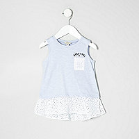 Mini girls blue crochet peplum top