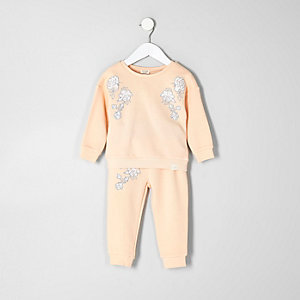 Mini girls orange sweatshirt and joggers set