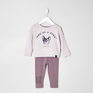 Mini girls purple dog print sweatshirt outfit