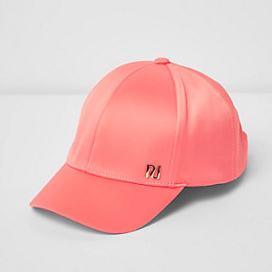 Girls coral pink satin cap