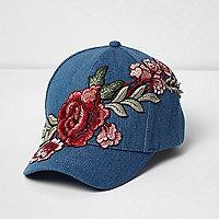 Girls blue denim rose embroidered cap