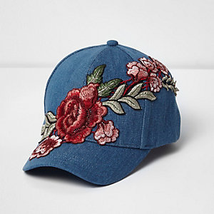 Girls blue denim rose embroidered cap