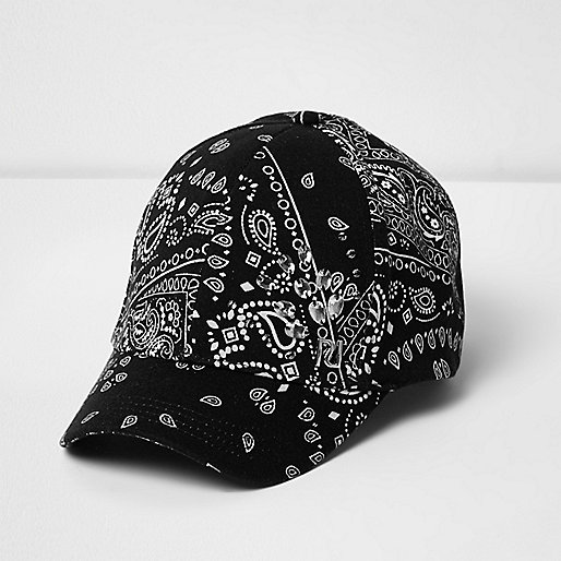 Girls black paisley jewel cap