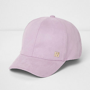 Girls purple faux suede cap