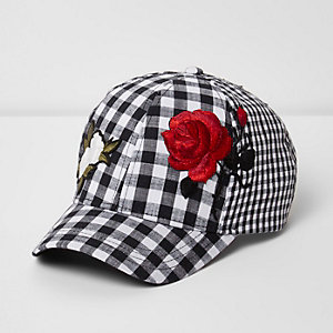 Girls black gingham floral appliqué cap