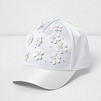 Girls white 3D flower satin cap